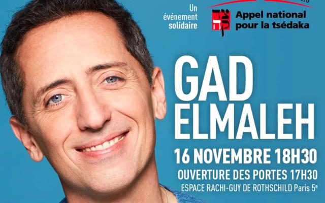 Gad Elmaleh, le 16 novembre à l'espace Rachi-Guy de Rothschild, au profit de la Tsédaka 2020.