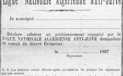 """Coupon d'adhésion à la pétition contre le décret Crémieux, imprimé dans l'édition du 5 août 1897 du journal """"L'Antijuif algérien"""". (Crédit : WikiCommons)"""