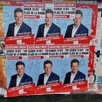 Ille-et-Vilaine : Des affiches du PCF recouvertes d'étoiles de David et du mot «juif». (Crédit : Twitter / PRCF-29)
