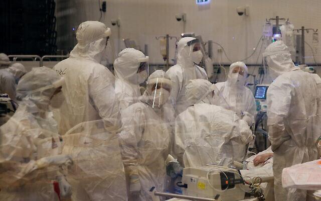 Une unité de traitement du coronavirus à l'hôpital Ziv, dans la ville de Safed, au nord du pays, le 7 octobre 2020. (David Cohen/Flash90)