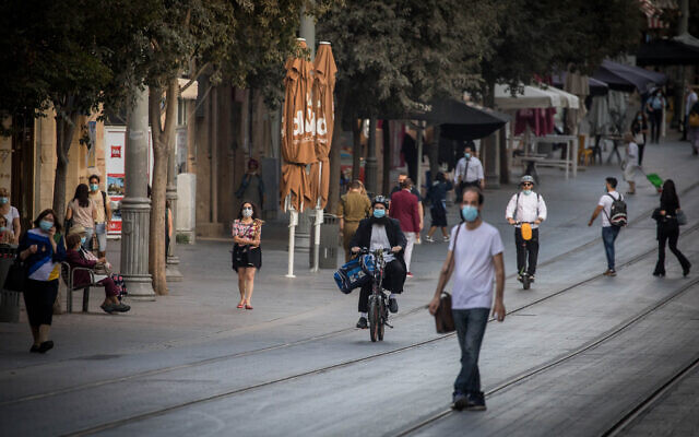 Jaffa Street, au centre-ville de Jérusalem, le 26 octobre 2020. (Crédit : Yonatan Sindel/Flash90)