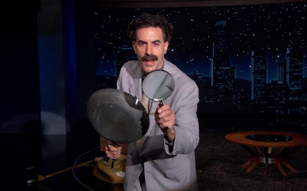 Sacha Baron Cohen dans le rôle de Borat dans l'émission de Jimmy Kimmel, le 19 octobre 2020. (Capture d'écran)