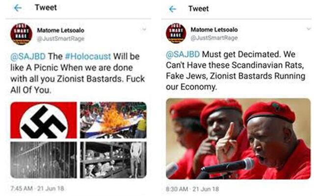 Capture d'écran de deux Tweets antisémites qui ont depuis été supprimés. (Capture d'écran)