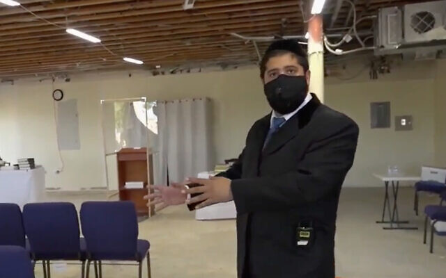Le rabbin de San Diego Yonatan Halevy décrit une agression antisémite contre lui. (Capture d'écran/San Diego Channel 10 News)