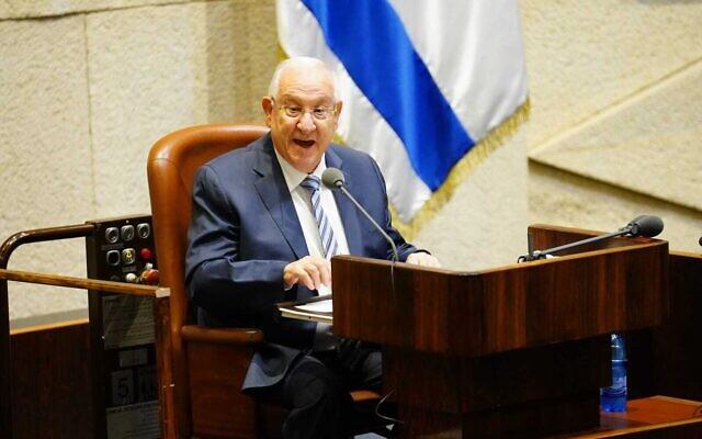 Le Président Reuven Rivlin s'exprime lors de l'ouverture de la session d'hiver de la Knesset, le 12 octobre 2020. (Yaniv Nadav/ Bureau du porte-parole de la Knesset)