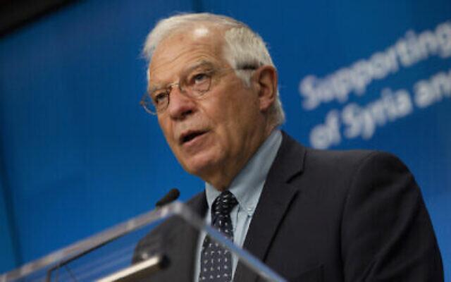 Le chef de la politique étrangère de l'Union européenne, Josep Borrell, s'exprime lors d'une conférence de presse à Bruxelles, le 30 juin 2020. (AP Photo/Virginia Mayo, Pool)