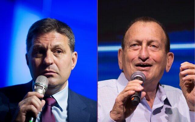 Le maire de Modiin Haim Bibas, à gauche, et le maire de Tel Aviv Ron Huldai (Crédit : Flash90)