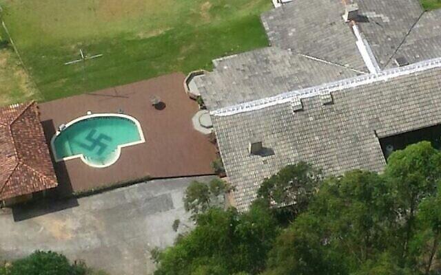 La tristement célèbre piscine ornée d'une croix gammée à Santa Caterina, au Brésil. (Santa Catarina Civil Police via JTA)