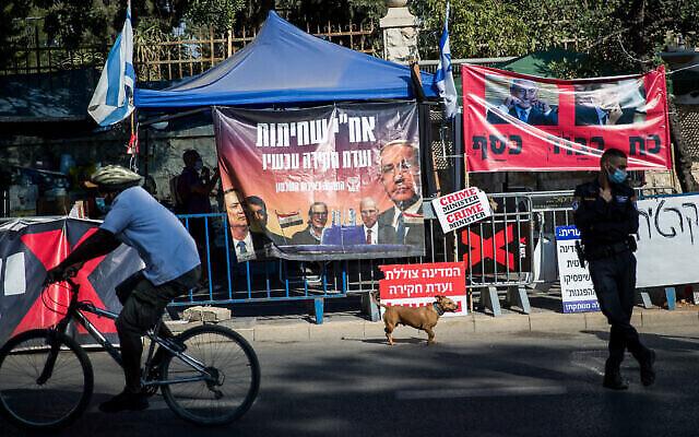 Photo illustrative d'un campement de protestation anti-Netanyahu devant la résidence du Premier ministre à Jérusalem le 20 juillet 2020. (Yonatan Sindel/Flash90)
