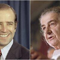 A gauche, le tout nouveau jeune sénateur démocrate du Delaware, Joe Biden, au Capitole de Washington, le 13 octobre 1972 - à droite, la Première ministre israélienne Golda Meir s'exprime devant les Nations unies le 22 d'octobre 1970. (Crédit : AP photos)