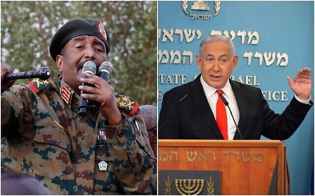 A gauche : Le général soudanais Abdel Fattah al-Burhane, chef du conseil militaire, s'exprime lors d'un rassemblement soutenu par l'armée, dans le district d'Omdurman, à l'ouest de Khartoum, au Soudan, le 29 juin 2019. (AP/Hussein Malla). A droite : Le Premier ministre Benjamin Netanyahu s'exprime dans son bureau à Jérusalem, le 13 septembre 2020. (Alex Kolomiensky/Yediot Aharonot via AP, Pool)