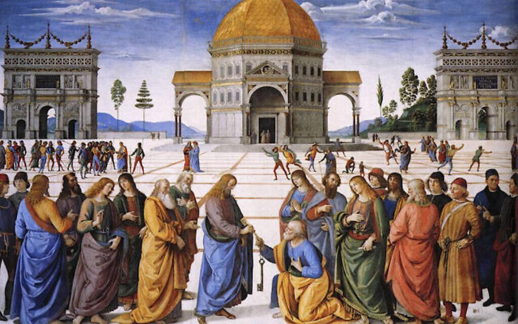 """Le Pérugin, """"Le Christ donne les clés du royaume à Saint-Pierre"""", Chapelle Sixtine, 1481-83, fresque d'après Matthieu (16, 18-19). (Domaine public)"""
