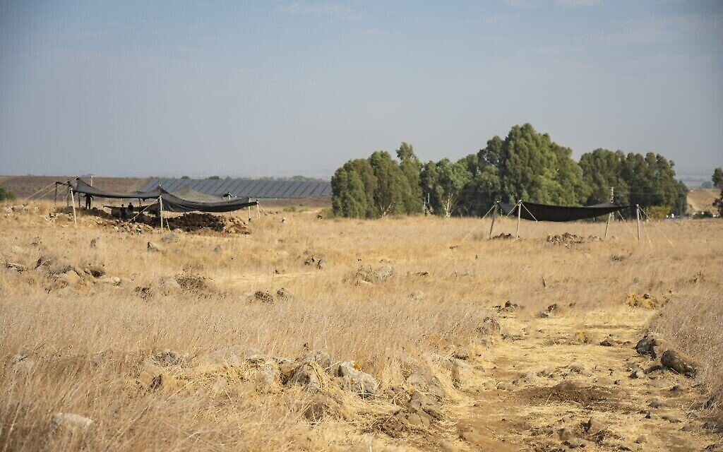 Les fouilles menées par l'Autorité des Antiquités israélienne près de Hispin dans le Golan, où une forteresse du 11e siècle après l'ère commune a été découverte. (Crédit : Yaniv Berman, Autorité des Antiquités israélienne)