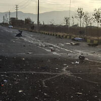 La rue où a tué tué le général Mohsen Fakhrizadeh a Téhéran, le 27 novembre 2020. (Crédit : Fars News Agency via AP)