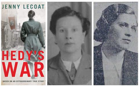 """De gauche à droite : La couverture de """"Hedy's War"""" de Jenny Lecoat (Autorisation), Dorothea Weber et la Juive qu'elle avait sauvée, Hedwig Bercu (Crédit : Collection des Justes parmi les nations de Yad Vashem)"""