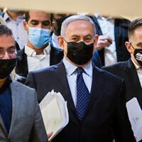 Le Premier ministre Benjamin Netanyahu (au centre) à la Knesset le 10 novembre 2020. (Oren Ben Hakoon / Pool / Flash90)
