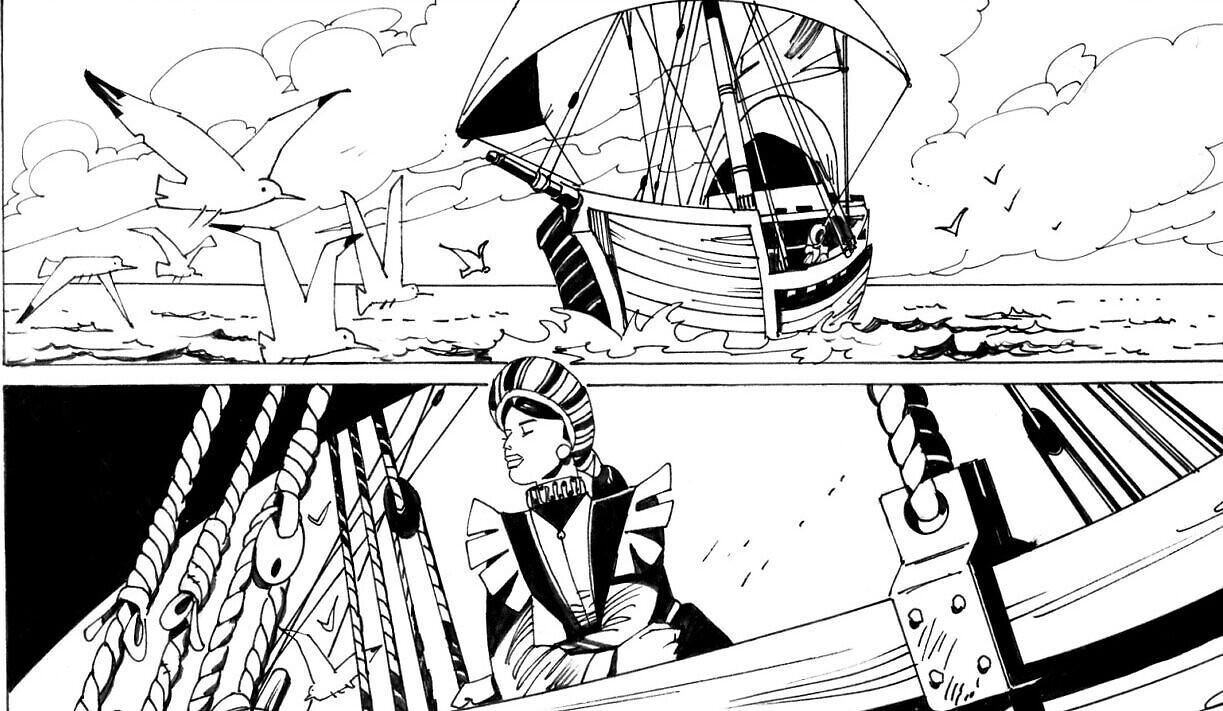 """Gracia Nasi part à Anvers sur une vignette de """"La Juive errante"""", une histoire écrite par Gianluca Piredda et illustrée par Leo Sgarbi. (Autorisation : Piredda)"""