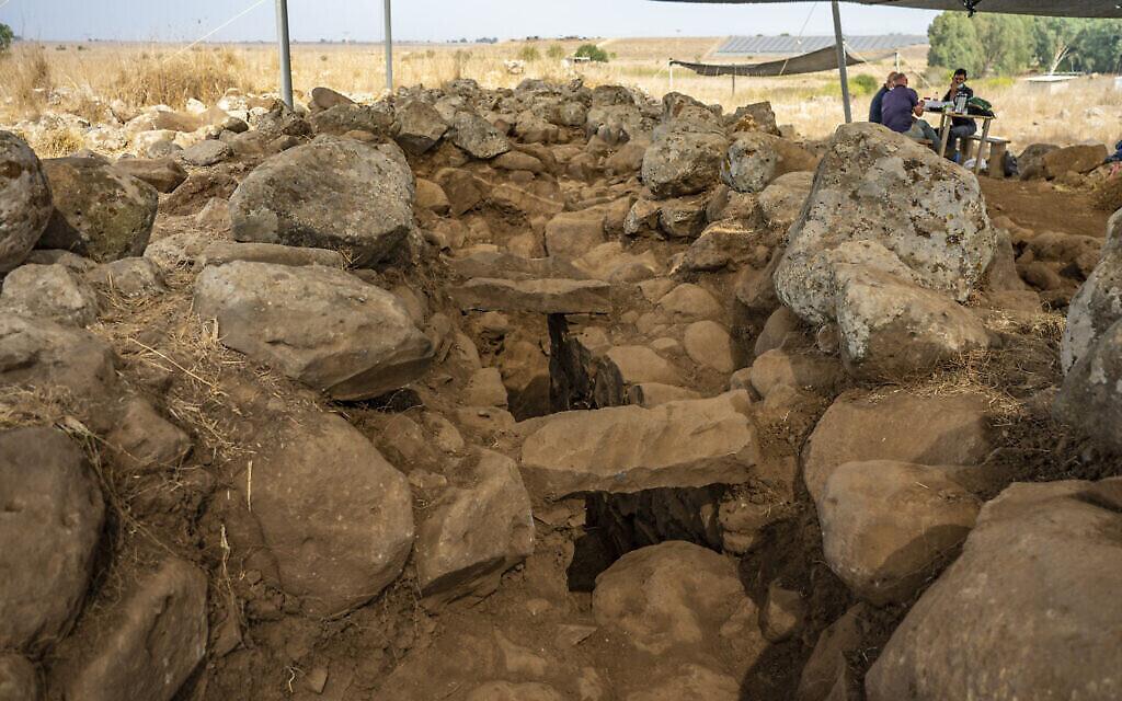 """Le chantier de fouilles de l'Autorité des Antiquités israélienne, près d'Hispin dans le Golan, où une forteresse remontant au 11e siècle avant l'ère commune environ a été découverte et qui pourrait être la plus ancienne preuve de l'existence de la peuplade biblique appelée """"Guechourites"""" (Crédit : Yaniv Berman, Autorité des Antiquités israélienne)"""