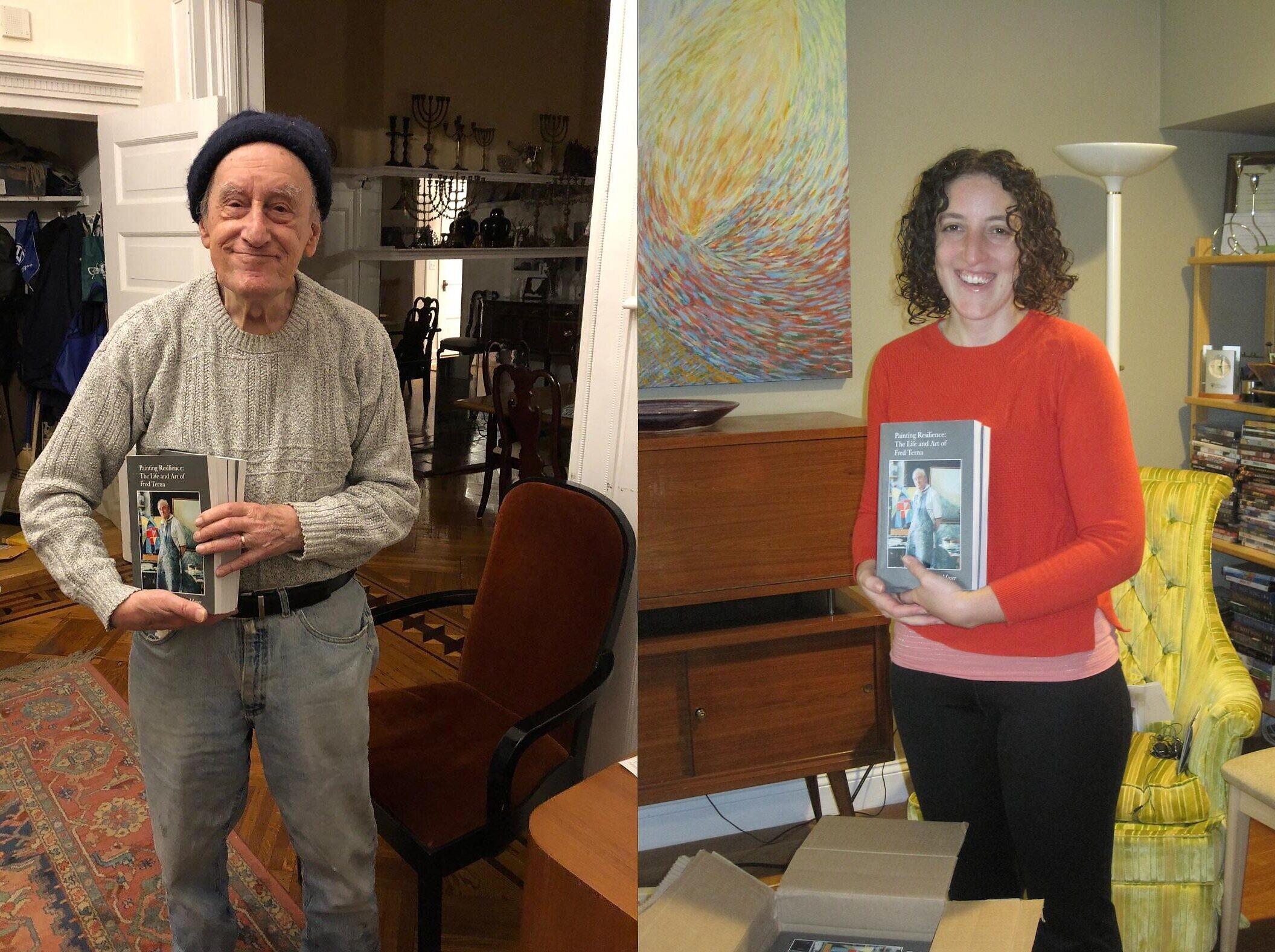 L'artiste et survivant de la Shoah Fred Terna, à gauche, et  Julia Mayer,qui a passé des heures avec cet ami de la famille pour écrire  'Painting Resilience: The Life and Art of Fred Terna,'sorti aux Etats-Unis le 16 novembre 2020. (Autorisation : Julia Mayer)