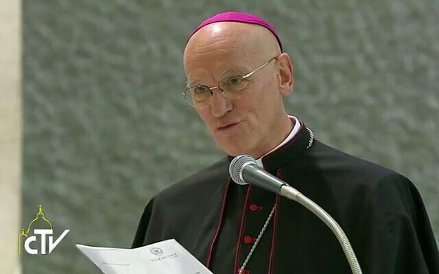 Mgr André Marceau en septembre 2016 pendant une audience du pape François à Rome. (Crédit : Centro Televisivo Vaticano)