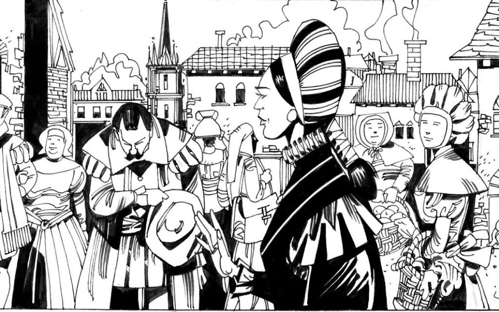 """Gracia Nasi à Anvers sur une vignette de """"La Juive errante"""", une histoire écrite par Gianluca Piredda et illustrée par Leo Sgarbi. (Autorisation : Piredda)"""