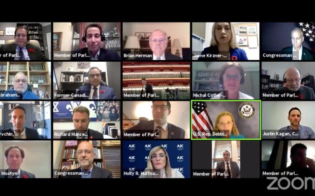 Un groupe de travail interparlementaire sur la lutte contre l'antisémitisme se réunit via Zoom, le 10 novembre 2020. (Capture d'écran Zoom)
