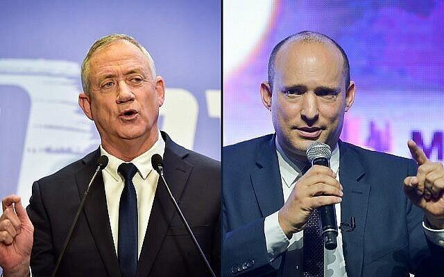 Le dirigeant du parti Yamina, Naftali Bennett, et Benny Gantz, dirigeant du parti Kakhol lavan (Crédit : Flash90)