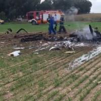 Scène du crash d'un avion près du kibboutz Mishmar Hanegev, le 24 novembre 2020. (Capture d'écran Ynet)