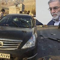 Cette photo de l'agence de presse semi-officielle Fars montre les lieux de l'assassinat de Mohsen Fakhrizadeh à Asbard, une petite ville de l'est de la capitale de Téhéran, le 27 novembre 2020. Insert : Mohsen Fakhrizadeh. (Crédit : Agence de presse Fars via AP)