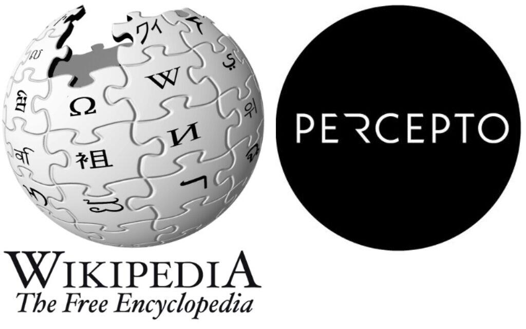Logo Wikipédia à côté du logo de Percepto. (Image composite du Times of Israel)