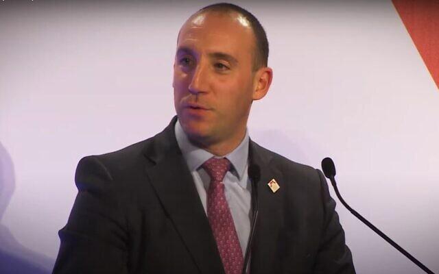 Dan Rosenfield au dîner annuel du World Jewish Relief, le 1er février 2020. (Capture d'écran YouTube)