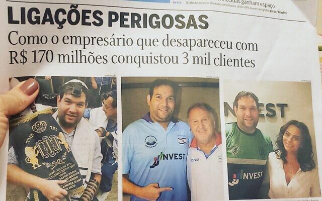 """Un article sur Jonas Jaimovick dans """"O Globo"""", l'un des plus grands journaux du Brésil. (WhatsApp via JTA)"""