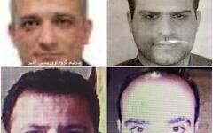 Quatre suspects présumés dans le meurtre du scientifique nucléaire Mohsen Fakhrizadeh. (Twitter)
