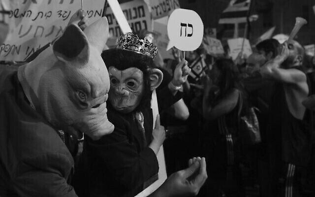 """Une photo de manifestants aux abords de la résidence du Premier ministre Benjamin Netanyahu, prise par Raanan Cohen, au mois de juillet 2020 et présentée dans le cadre de l'exposition """"Témoignage local"""" qui débutera le 24 décembre 2020 à Tel Aviv. (Autorisation : """"Témoignage local"""")"""
