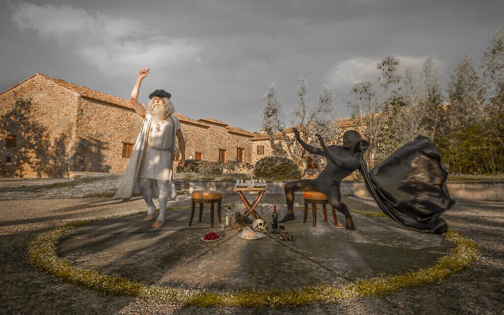 """""""Echec et Mat"""" : Leonardo faisant échec et mat à l'angle de la mort dans le jardin de son lieu de naissance à Anchiano, à Vinci. (Crédit : Moses Pini Siluk)"""