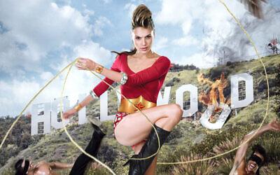 Détail d'une photographie montrant Gal Gadot posant pour Moses Pini Siluk en Wonder Woman pour le magazine israélien Sheva Leylot plusieurs années avant de tenir le rôle de la super-héroïne. (Crédit : Moses Pini Siluk)