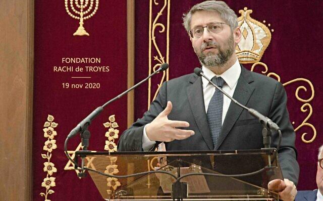 Le grand-rabbin de France Haïm Korsia lors de l'inauguration de la fondation Rachi de Troyes. (Crédit : rachi-troyes.com)