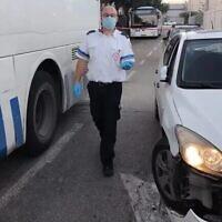 La scène d'un délit de fuite présumé, près du Tombeau de Rachel, en Cisjordanie, le 2 décembre 2020. (Crédit : Magen David Adom)