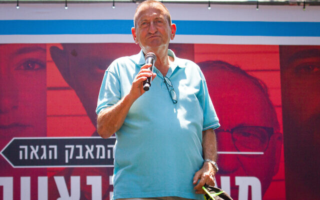 Ron Huldai, maire de Tel Aviv, lors de la Gay Pride annuelle à Tel Aviv, le 14 juin 2019. (Crédit : Flash90)