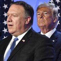 Le président américain Donald Trump, (à droite), écoute le secrétaire d'État américain Mike Pompeo lors d'une conférence de presse après un sommet des chefs d'État et de gouvernement au siège de l'OTAN à Bruxelles, en Belgique, le 12 juillet 2018. (Geert Vanden Wijngaert/AP)