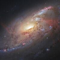 Cette image réalisée par le télescope Hubble Space Telescope de la NASA/ESA montre la galaxie spirale M106 avec des informations supplémentaires provenant d'astronomes amateurs. (Crédit : STScI/AURA), R. Gendler via AP, File)