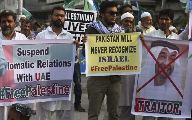 Illustration : Des partisans du parti religieux pakistanais Jamaat-e-Islami, participent à un rassemblement pour dénoncer l'accord entre les Émirats arabes unis et Israël visant à établir des relations diplomatiques complètes entre les deux pays, à Karachi, au Pakistan, le dimanche 16 août 2020. (AP Photo/Fareed Khan)