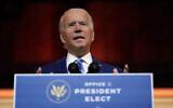 Le président-élu Joe Biden au Queen Theater, à Wilmington, dans le Delaware, le 25 novembre 2020. (Crédit : AP Photo/Carolyn Kaster)