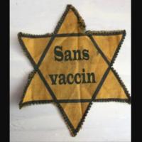 L'étoile jaune des victimes juives du nazisme reprise par des internautes anti-vaccin COVID. (Crédit : capture d'écran Twitter)