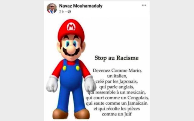 La publication Facebook partagée par Navaz Mouhamadaly, conseiller municipal de la majorité socialiste à Sarcelles, le 23 décembre dernier. (Crédit : Facebook)