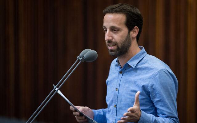 Ram Shefa, membre du parti Kakhol lavan, à la Knesset à Jérusalem, le 14 mai 2019. (Crédit : Hadas Parush/Flash90)