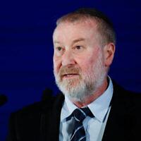 Le procureur général Avichai Mandelblit prend la parole lors de la 17e Conférence annuelle de Jérusalem du groupe « Besheva », le 24 février 2020. (Olivier Fitoussi / Flash90)