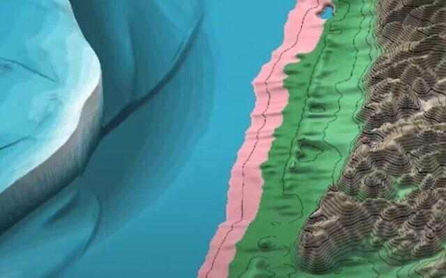 Capture d'écran d'une vidéo d'un modèle numérique créé par les chercheurs pour montrer un gigantesque tsunami qui, selon eux, s'était probablement abattu sur la côte israélienne il y a des milliers d'années. (Capture d'écran : Youtube)