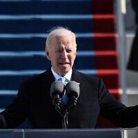 Le président américain Joe Biden lors de son discours d'investiture le 20 janvier 2021 au Capitole à Washington. (Andrew Caballero-Reynolds / AFP)