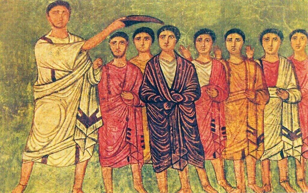 Une peinture de David fait roi par Samuel, portant la teinte pourpre royale, une œuvre du 3è siècle de l'ère commune visible à la synagogue Dura Europos (Crédit : Domaine public)